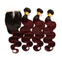 お買い得  カラー・ヘアエクステンション-閉鎖した3つのバンドル ブラジリアンヘア ウェーブ レミーヘア人毛 人毛エクステンション 閉鎖が付いている毛横糸 10-24 インチ 人間の髪織り ソフト 最高品質 新参者 人間の髪の拡張機能
