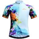 זול סטים של חולצות ומכנסיים\שורטים לרכיבת אופניים-JESOCYCLING בגדי ריקוד נשים שרוולים קצרים חולצת ג'רסי לרכיבה כחול פרחוני  בוטני אופנייים ג'רזי צמרות נושם פתילת לחות ייבוש מהיר ספורט 100% פוליאסטר רכיבת הרים רכיבת כביש ביגוד / סטרצ'י (נמתח)
