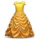 billiga Flickklänningar-Barn Småbarn Flickor Vintage Ljuv Jul Helgdag Enfärgad Plisserad Långärmad Midi Klänning Gul