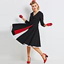 povoljno Stare svjetske nošnje-Audrey Hepburn Retro / vintage Mala crna haljina 1960 Osa struka Haljine Žene Kostim Crn Vintage Cosplay 3/4 rukava Dugi Duljina / Haljina / Haljina