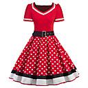 Χαμηλού Κόστους Στολές της παλιάς εποχής-Audrey Hepburn Πουά Ρετρό / Βίντατζ Δεκαετία του 1950 Φορέματα Γυναικεία Στολές Μαύρο / Κόκκινο Πεπαλαιωμένο Cosplay Μισό μανίκι Μέχρι το γόνατο / Φόρεμα / Ζώνη Μέσης / Φόρεμα / Ζώνη Μέσης