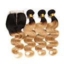 Χαμηλού Κόστους Εξτένσιος μαλλιών με φυσικό χρώμα-3 πακέτα με κλείσιμο Βραζιλιάνικη Κυματομορφή Σώματος Remy Τρίχα Εξτένσιον από Ανθρώπινη Τρίχα Μαλλιά υφάδι με κλείσιμο 10-24 inch Υφάνσεις ανθρώπινα μαλλιών Μαλακό Η καλύτερη ποιότητα Νέα άφιξη