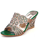 cheap Women's Sandals-Women's PU(Polyurethane) Summer Sandals Wedge Heel Open Toe Rhinestone / Sequin Gold / Green / Wedding / Party & Evening