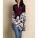 Χαμηλού Κόστους Μοδάτα Σκουλαρίκια-Γυναικεία Μεγάλα Μεγέθη Μπλούζα Φλοράλ Βαθυγάλαζο