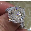 Χαμηλού Κόστους Μοδάτο Δαχτυλίδι-Γυναικεία Δαχτυλίδι Cubic Zirconia Συνθετικό Diamond Λευκό Κυκλικό Πολυτέλεια Μοναδικό Νυφικό Πάρτι Αρραβώνας Κοσμήματα Κλασσικό HALO Ετοιμάζω τον δρόμον Γάμος