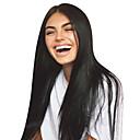billiga Syntetiska peruker utan hätta-Obehandlad hår Obehandlat Mänsligt hår Spetsfront Peruk Middle Part Gratis del Kardashian stil Brasilianskt hår Rak Natur Svart Peruk 130% Hårtäthet 8-30 tum med babyhår Till färgade kvinnor