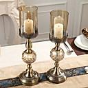 Χαμηλού Κόστους Κεριά & Κηροπήγια-Σύγχρονη Σύγχρονη Σίδερο Κηροπήγια Κηροπήγιο 2pcs, Κερί / Κερί