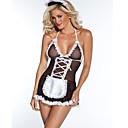 baratos Acessórios de Cabelo-Maid Uniforms Mulheres Renda Sexy Conjunto Roupa de Noite Estampa Colorida Preto L XL XXL