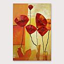 ราคาถูก ภาพวาดแอบสแตรก-ภาพวาดสีน้ำมันแขวนทาสี มือวาด - ลวดลายดอกไม้ / เกี่ยวกับพฤษศาสตร์ ที่ทันสมัย รวมถึงด้านในกรอบ