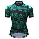 ราคาถูก ชุดเซทปั่นจักรยาน-TELEYI สำหรับผู้ชาย แขนสั้น Cycling Jersey สีเขียว กระโหลก จักรยาน เสื้อยืด Tops ขี่จักรยานปีนเขา Road Cycling Moisture Wicking แห้งเร็ว กีฬา เส้นใยสังเคราะห์ เสื้อผ้าถัก / SBS ซิป