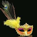 billiga Karnevalkostymer-Fjäder Mask Venetian Mask Masquerade Mask Inspirerad av Venetian Cosplay Guldgul Röd+Guld Sexig Halloween Karnival Maskerad Vuxna Dam / Fjärmask / Halvmask