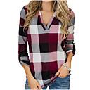 povoljno Modne naušnice-Majica Žene Dnevno Color block Kragna košulje Slim Red