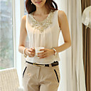 Χαμηλού Κόστους Γυναικείες Γόβες-Γυναικεία Μεγάλα Μεγέθη Αμάνικη Μπλούζα Μονόχρωμο Λευκό