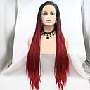 Χαμηλού Κόστους Πλεξούδες μαλλιών-Συνθετικές μπροστινές περούκες δαντέλας Dreadlocks / Faux Locs Πλεκτά Κούρεμα με φιλάρισμα Πλεξίδα Δαντέλα Μπροστά Περούκα Μακρύ Μαύρο / Κόκκινο Συνθετικά μαλλιά 24 inch Γυναικεία