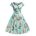 זול טלפון ואוזניות-צווארון V מידי פרחוני דפוס, גיאומטרי - שמלה סווינג רזה בגדי ריקוד נשים