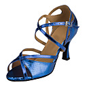 Χαμηλού Κόστους Παπούτσια χορού λάτιν-Γυναικεία Παπούτσια Χορού PU Παπούτσια χορού λάτιν Τακούνια Τακούνι καμπάνα Εξατομικευμένο Ασημί / Κόκκινο / Βαθυγάλαζο