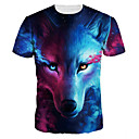 cheap Anime Costumes-Men's Daily Going out Basic / Exaggerated T-shirt - Animal Wolf, Print Round Neck Blue / Short Sleeve / Summer