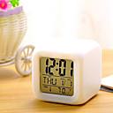baratos Relógios de Parede-7 cores led mudando despertador digital mesa termômetro noite brilhante cubo lcd relógio