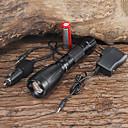 billiga Ficklampor-UltraFire LED-Ficklampor Vattentät Uppladdningsbar 2200/1000 lm LED LED 1 utsläpps 5 Belysning läge med batteri och laddare Vattentät Uppladdningsbar Justerbar fokus Camping / Vandring