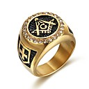 ราคาถูก แหวน-สำหรับผู้ชาย วงแหวน Cubic Zirconia 1pc สีดำ Titanium โลหะ รูปร่างวงกลม คลาสสิก วินเทจ สง่างาม งานแต่งงาน ทุกวัน เครื่องประดับ สไตล์วินเทจ