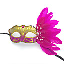 billiga Karnevalkostymer-Fjäder Mask Venetian Mask Masquerade Mask Inspirerad av Prinsessa Cosplay Svart Vit Sexig Halloween Karnival Maskerad Vuxna Dam / Halvmask