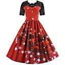 billiga Animekostymer-Vinter Julklänning Dam Japanska Cosplay-kostymer Röd Tryck Vintage Kortärmad