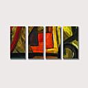 billige Abstrakte malerier-Hang malte oljemaleri Håndmalte - Abstrakt Moderne Inkluder indre ramme / Fire Paneler / Stretched Canvas