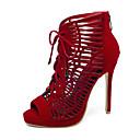 ราคาถูก รองเท้าแตะผู้หญิง-สำหรับผู้หญิง หนังนิ่ม ฤดูร้อนฤดูใบไม้ผลิ Chinoiserie รองเท้าแตะ ส้น Stiletto ที่สวมนิ้วเท้า ปมผ้า สีดำ / Drak Red / งานแต่งงาน / พรรคและเย็น