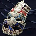 billige Kostymeparykk-Maske Venetiansk maske Masquerade Mask Inspirert av Venetian Svart Azurblå Fest / aften Vintage Halloween Karneval Maskerade Voksne Dame / Halvmaske