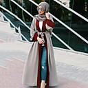 Χαμηλού Κόστους Ethnic & Cultural Κοστούμια-Ενηλίκων Γυναικεία Etnic Αραβικό φόρεμα Αμπάγια Φόρεμα Kaftan Για Halloween Καθημερινά Ρούχα Φεστιβάλ Πολυεστέρας Patchwork Μακρύ Μήκος Φόρεμα 1 ζώνη