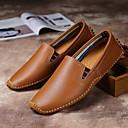 ราคาถูก รองเท้าแตะ & Loafersสำหรับผู้ชาย-สำหรับผู้ชาย รองเท้าหนัง หนัง ฤดูร้อนฤดูใบไม้ผลิ วินเทจ รองเท้าส้นเตี้ยทำมาจากหนังและรองเท้าสวมแบบไม่มีเชือก ไม่ลื่นไถล สีดำ / สีน้ำตาล / ฟ้า