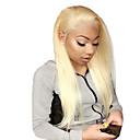 billige Blondeparykker med menneskehår-Ubehandlet hår Helblonde Parykk Gaga stil Brasiliansk hår Rett Blond Parykk 130% Hair Tetthet med baby hår Beste kvalitet Hot Salg med klipp Dame Medium Lengde Blondeparykker med menneskehår WoWEbony