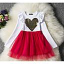 Χαμηλού Κόστους Φορέματα για κορίτσια-Παιδιά Κοριτσίστικα Βασικό Μονόχρωμο Μακρυμάνικο Φόρεμα Ρουμπίνι