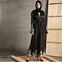 Χαμηλού Κόστους Ethnic & Cultural Κοστούμια-Ενηλίκων Γυναικεία Etnic Αραβικό φόρεμα Αμπάγια Φόρεμα Kaftan Για Halloween Καθημερινά Ρούχα Φεστιβάλ Faux μετάξι Κέντημα Κεντήματα Μακρύ Μήκος Φόρεμα Ζώνη / Σάλι