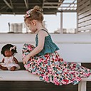 Χαμηλού Κόστους The Freshest One-Piece-Παιδιά Νήπιο Κοριτσίστικα Ενεργό Μπόχο Καθημερινά Φλοράλ Patchwork Αμάνικο Κοντό Βαμβάκι Σετ Ρούχων Πράσινο του τριφυλλιού