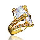 Χαμηλού Κόστους Μανικετόκουμπα Ανδρικά-Γυναικεία Δακτύλιος Δήλωσης Δαχτυλίδι Cubic Zirconia 1pc Χρυσό Ασημί 18Κ Επίχρυσο Προσομειωμένο διαμάντι Μοντέρνο Στυλάτο Ρομαντικό Πάρτι Αρραβώνας Κοσμήματα Κλασσικό