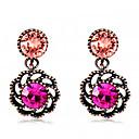 ราคาถูก ตุ้มหู-สำหรับผู้หญิง สีชมพู คริสตัล Drop Earrings Flower อินเทรนด์ แฟชั่น ที่ทันสมัย เคลือบทองคำสีกุหลาบ ต่างหู เครื่องประดับ สีดำและสีทอง สำหรับ ทุกวัน เป็นทางการ 1 คู่