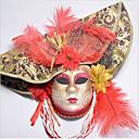 billiga Halloween- och karnevalkostymer-Fjäder Venetian Mask Masquerade Mask Halvmask Inspirerad av Cosplay Venetian Röd Blå Halloween Halloween Karnival Maskerad Vuxna Dam