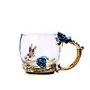 billige Krus & Kopper-blå rose emalje krystall kopp blomst te glass glass vann krus med håndtak gave elsker bryllup