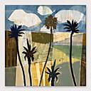 abordables Peintures à Fleurs / Botaniques-Peinture à l'huile Hang-peint Peint à la main - Abstrait Moderne Inclure cadre intérieur