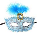 billiga Halloween- och karnevalkostymer-Spets Venetian Mask Masquerade Mask Halvmask Inspirerad av Cosplay Venetian Svart Brun Halloween Halloween Karnival Maskerad Vuxna Dam / Fjäder