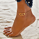 cheap Body Jewelry-Women's Ankle Bracelet feet jewelry Two tone Partners in Crime Handcuffs Cheap Simple Trendy Fashion Hotwife Small Anklet Jewelry Gold / Silver For Causal Carnival Bikini