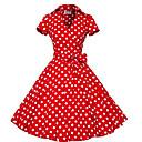 Χαμηλού Κόστους Στολές της παλιάς εποχής-Audrey Hepburn Πουά Ρετρό / Βίντατζ Δεκαετία του 1950 Φορέματα Γυναικεία Στολές Μαύρο / Καφέ / Κόκκινο Πεπαλαιωμένο Cosplay Μισό μανίκι Μέχρι το γόνατο / Φόρεμα / Φόρεμα