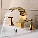 billiga Tvättställsblandare-Badrum Tvättställ Kran - Vattenfall Ti-PVD Hål med bredare avstånd Två handtag tre hålBath Taps