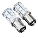 baratos Luzes de aviso-2 pcs 12 v baw15d 5050smd 27led luzes vermelhas de freio do carro lâmpadas de luz de freio de parada reversa universal
