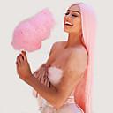 Χαμηλού Κόστους Συνθετικές περούκες χωρίς σκουφί-Συνθετικές μπροστινές περούκες δαντέλας Κατσαρά Ίσια Kardashian Στυλ Κούρεμα με φιλάρισμα Δαντέλα Μπροστά Περούκα Ροζ Ροζ + Κόκκινο Συνθετικά μαλλιά 24 inch Γυναικεία Γυναικεία Ροζ Περούκα Μακρύ