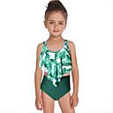 Χαμηλού Κόστους Μαγιό για κορίτσια-Παιδιά Νήπιο Κοριτσίστικα Βασικό χαριτωμένο στυλ Αθλητικά Παραλία Φλοράλ Με Βολάν Στάμπα Αμάνικο Μαγιό Πράσινο του τριφυλλιού