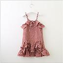 billiga Flickklänningar-Småbarn Flickor Ljuv söt stil Rutig Ärmlös Klänning Rubinrött