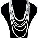 povoljno Stare svjetske nošnje-Žene slojeviti Ogrlice Pearl smjera Duga ogrlica Long dame Azijski Vjenčan Više slojeva Biseri Crn Svijetlosiva Obala Crvena Ogrlice Jewelry 1pc Za Vjenčanje Party Special Occasion Rođendan Dar