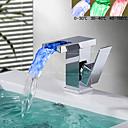 Χαμηλού Κόστους Βρύσες Μπανιέρας-Μπάνιο βρύση νεροχύτη - Καταρράκτης Χρώμιο Αναμεικτικές με ενιαίες βαλβίδες Ενιαία Χειριστείτε μια τρύπαBath Taps / Ορείχαλκος